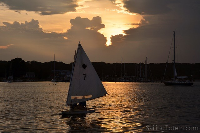 Sunfish and a sunset sail, Mystic River